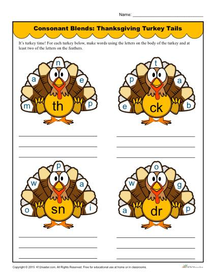 Consonant Blends Worksheet - Thanksgiving Turkey Tails
