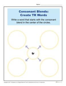 Consonant Blends Worksheet Activity - Create TR Words