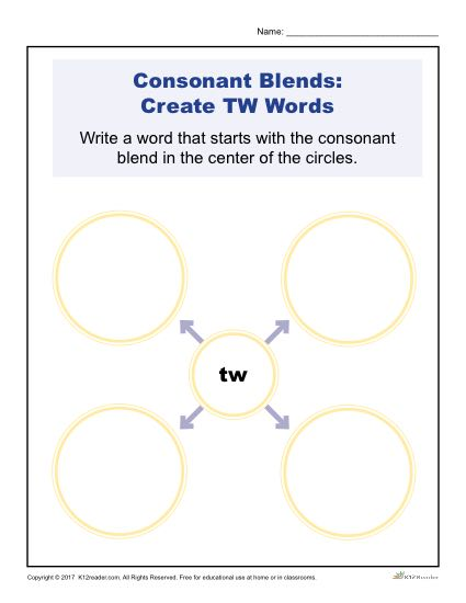 Consonant Blends Worksheet Activity - Create TW Words