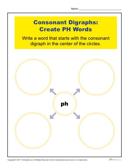 Consonant Digraphs Worksheet Activity - Create PH Words
