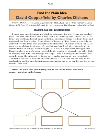 Printable Main Idea Worksheet Activity - David Copperfield