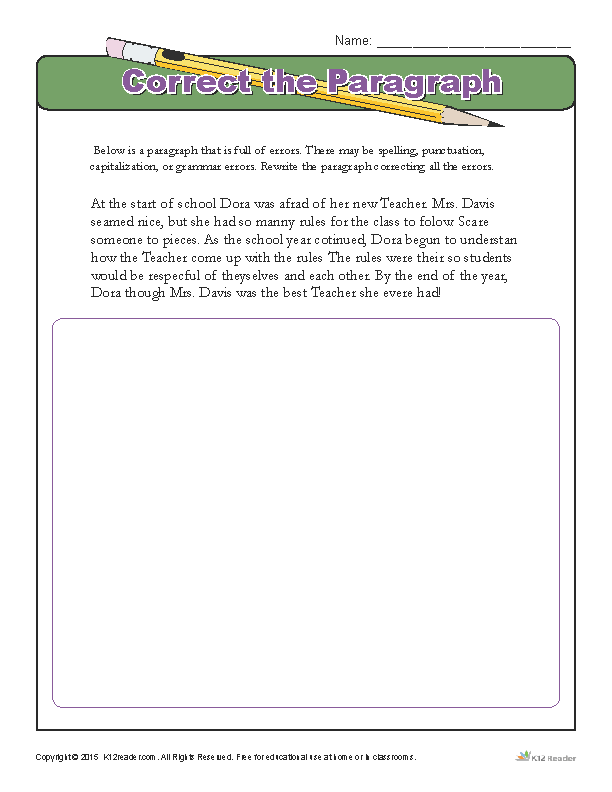 Correcting Paragraph Errors Worksheet Activity