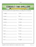 Spelling Worksheet - Correct the Spelling Word Mistakes
