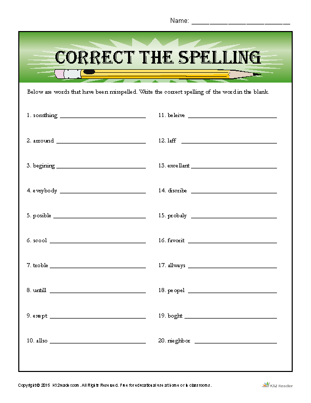 Spelling Worksheet Correct The Word Mistakes
