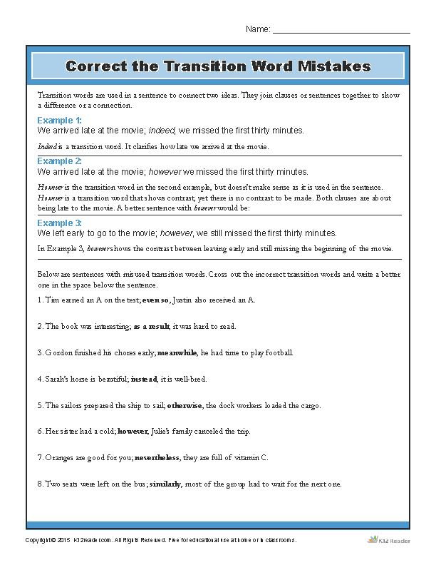 Correct the Transition Word Mistakes | Printable Writing Worksheet