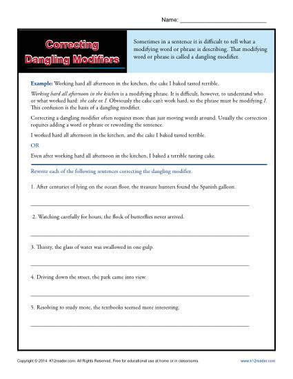 Correcting Dangling Modifiers Language Arts Worksheet