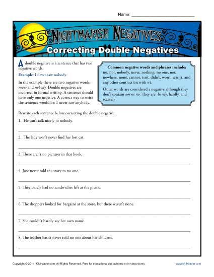 Correcting Double Negatives Worksheet Activity