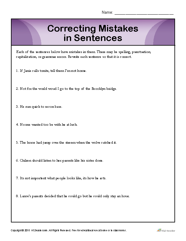 Correcting Mistakes in Sentences | Proofing and Editing