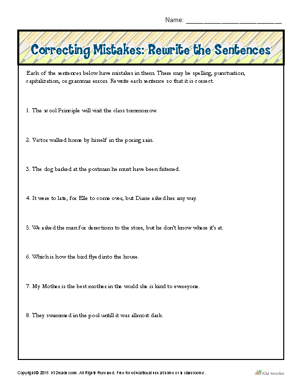 Correcting Mistakes: Rewrite the Sentences | Proofing and ...