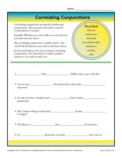 Correlating Conjunctions Worksheet Activity