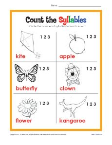 Count Syllables - Worksheet Practice Activity for Kids