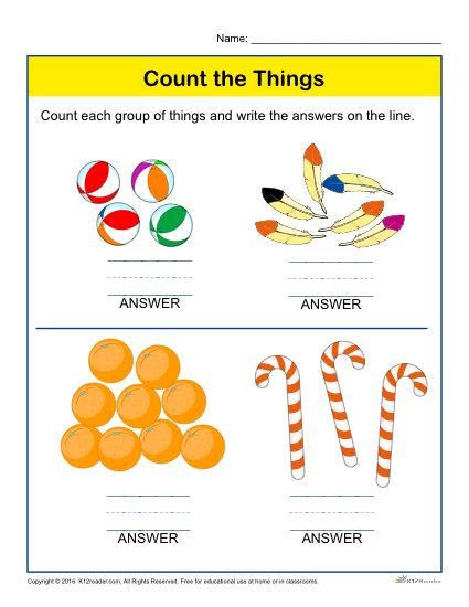 Preschool Counting Worksheet - Count each group of things and write the answers