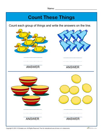 Preschool Counting Worksheet - Count each group of things