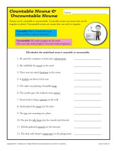 Printable Noun Activity - Countable Nouns and Uncountable Nouns
