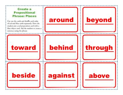 Create A Prepositional Phrase Places Prepositional Phrase Worksheets