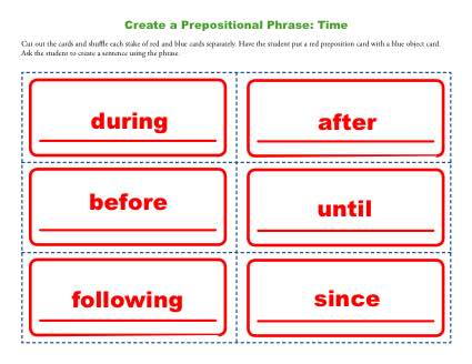 Create a Prepositional Phrase Activity - Time