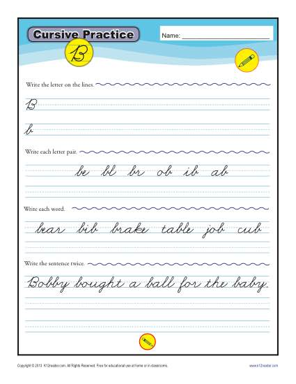graphic relating to Letter B Printable Worksheets known as Cursive B - Letter B Worksheets for Handwriting Train
