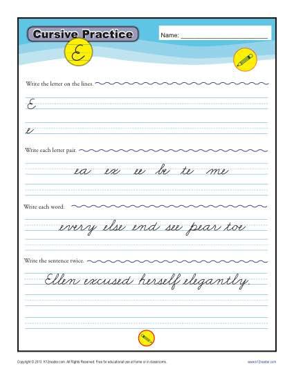 Cursive E \u2013 Letter E Worksheet