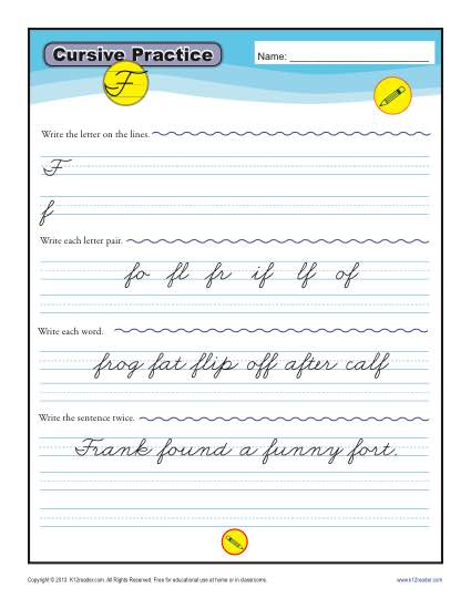 cursive f letter f worksheets for handwriting practice