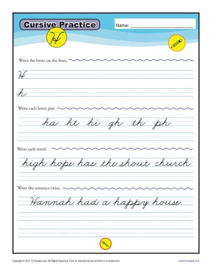 Topics : Cursive Handwriting Grades : 3rd Grade , 4th Grade