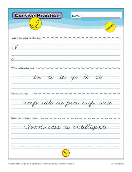 Cursive I - Printable Alphabet Letters Practice Activity