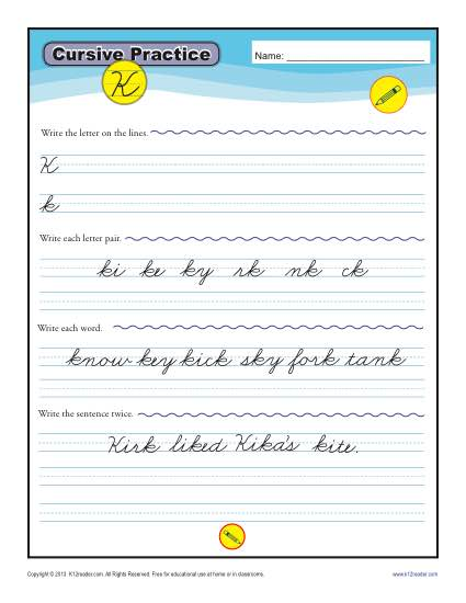 Cursive K - Printable Alphabet Letters Practice Activity