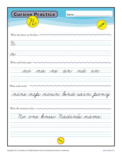 Cursive N - Printable Alphabet Letters Practice Activity