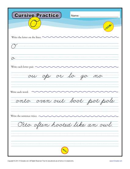 Cursive O - Printable Alphabet Letters Practice Activity