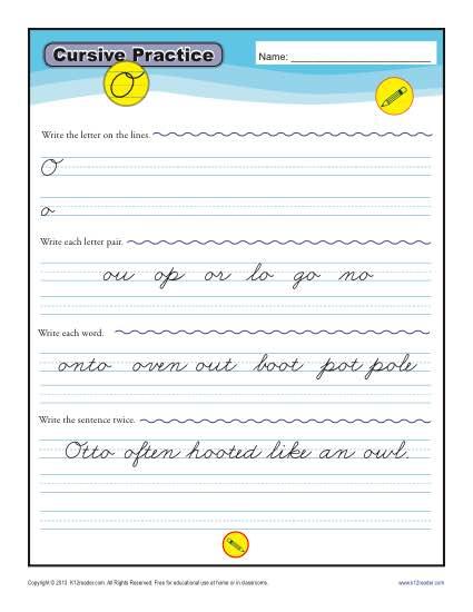 Cursive O - Printable Alphabet Letters Practice Activity