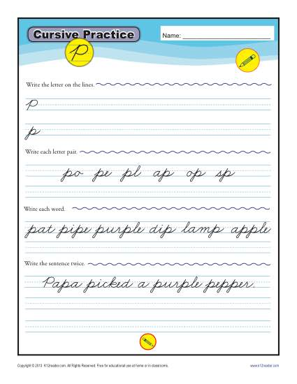 Cursive P Letter Worksheet