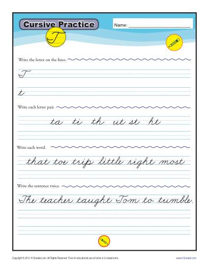 Cursive T - Letter T Worksheets for Handwriting Practice