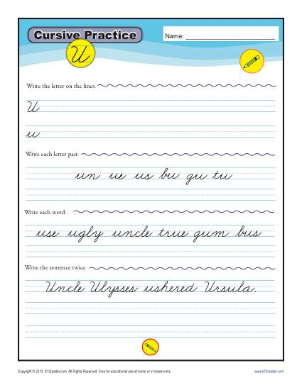 Cursive U - Printable Alphabet Letters Practice Activity