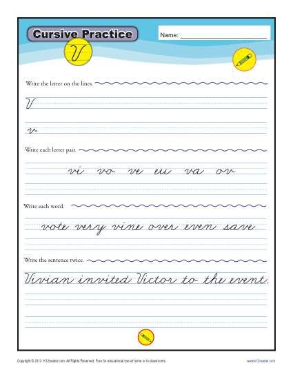Cursive V - Letter V Worksheets for Handwriting Practice