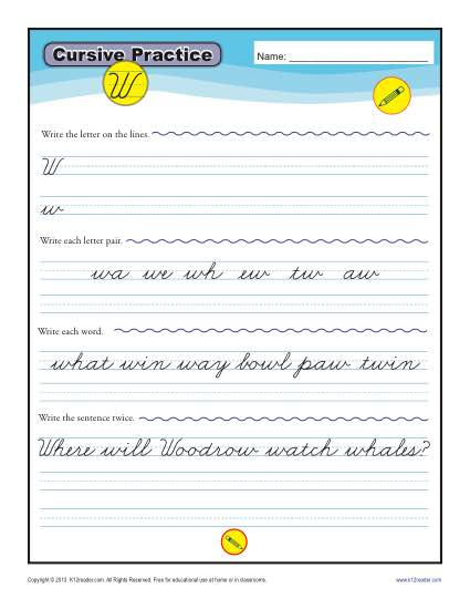Cursive W - Printable Alphabet Letters Practice Activity