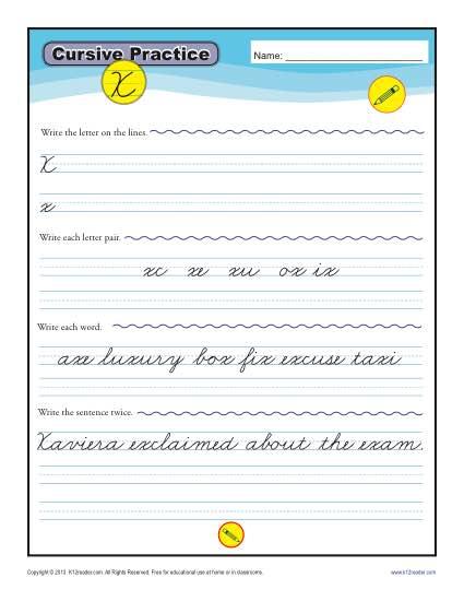 Cursive X - Printable Alphabet Letters Practice Activity