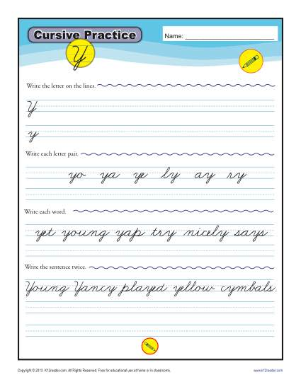 Cursive Y - Printable Alphabet Letters Practice Activity