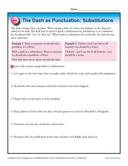 Punctuation Practice Worksheet - The Dash