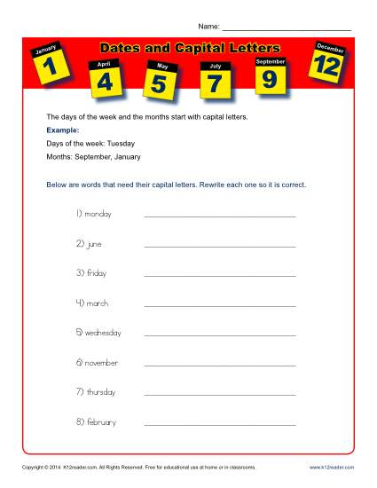 Dates And Capital Letters Worksheet Activity