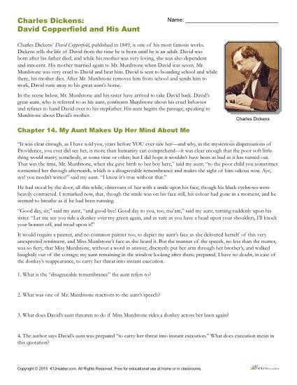 charles dickens reading comprehension printable worksheet