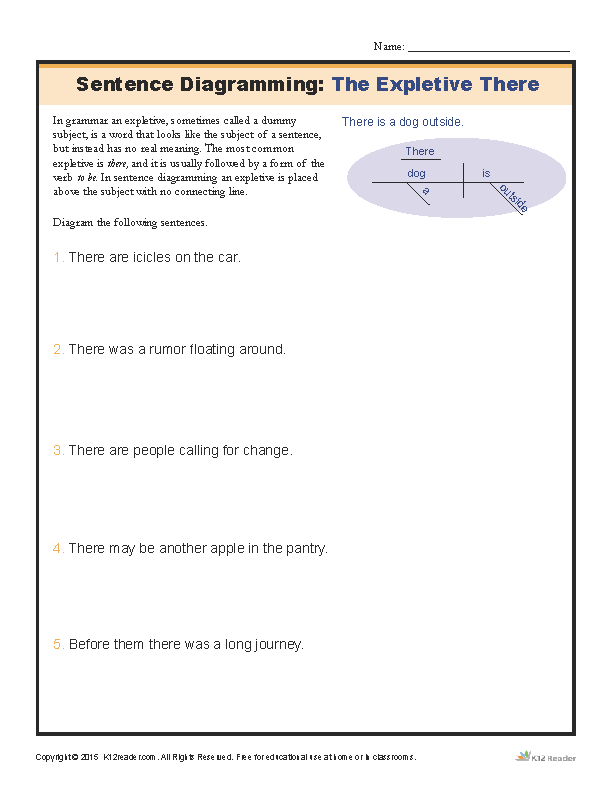 Printable Worksheets sentence patterns worksheets : Sentence Diagramming Worksheet: The Expletive There