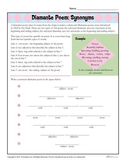 image regarding Poetry Worksheets Printable called Diamante Poem: Synonyms Poetry Worksheet