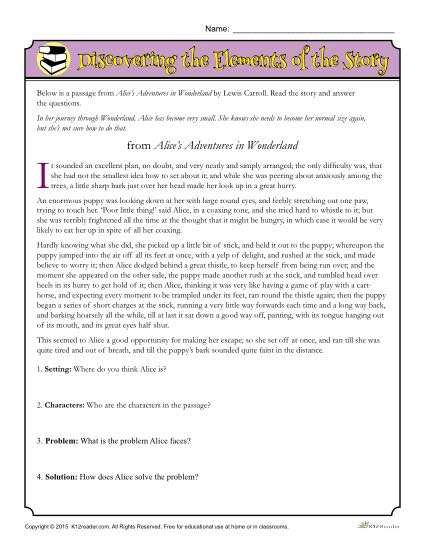 Story Elements Worksheet - Discovering the Elements of Alice's Adventures in Wonderland