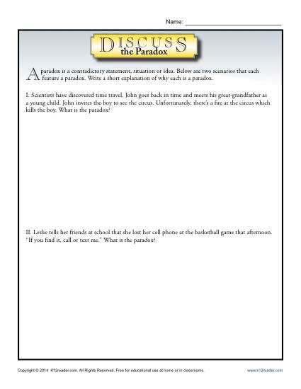 Discuss the Paradox - Free, Printable Worksheet Lesson Activity
