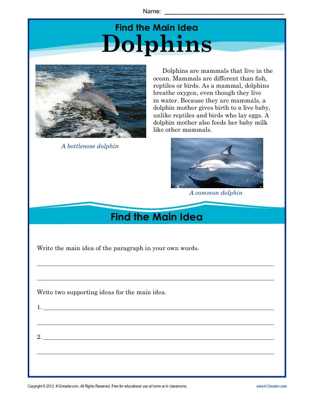 Printable Worksheets main idea worksheets grade 1 : 5th Grade Main Idea Worksheet About Dolphins