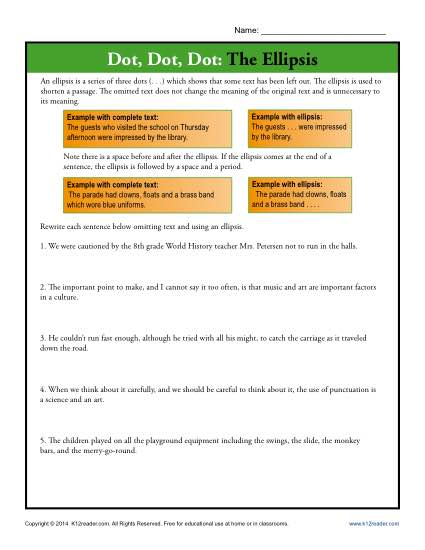 Dot, Dot, Dot: The Ellipsis | Punctuation Worksheets