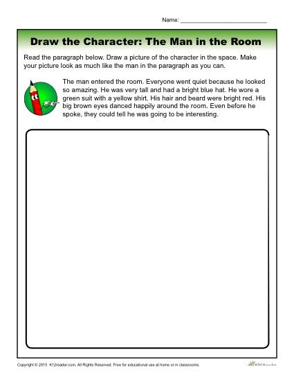 Character Traits Worksheet - Draw the Character: The Man in the Room