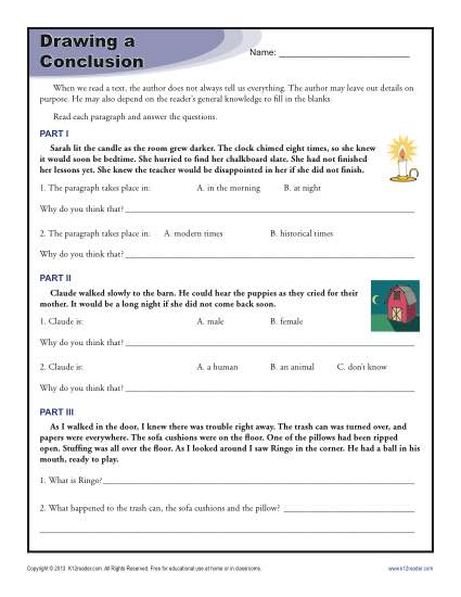 Main Idea and Drawing Conclusions (Grade 6) - Free Printable Tests ...