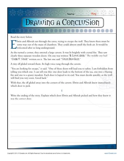 Drawing A Conclusion Worksheets 5th Grade And Middle School
