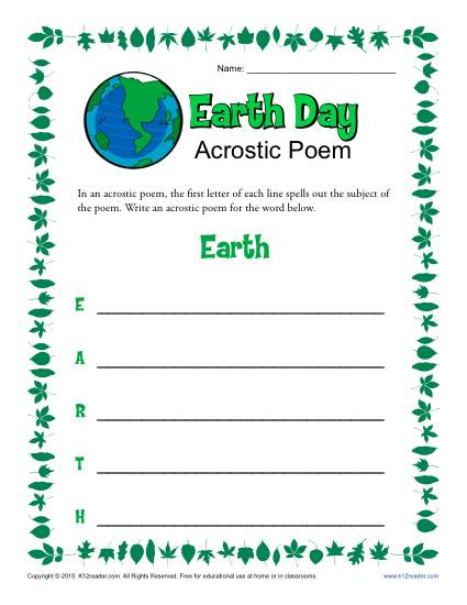 Earth Day Acrostic Poem Activity