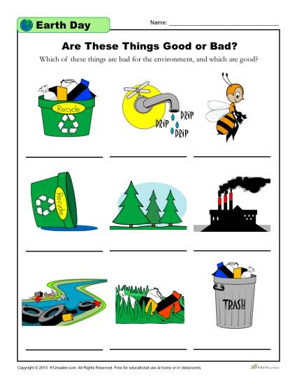 Earth Day Elementary School Worksheet Are These Things Good Or Bad